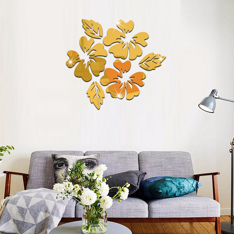 Three flowers mirror living room bedroom sofa background decoration flowers sticker acrylic mirror wall stickers home decoration in wall stickers from home