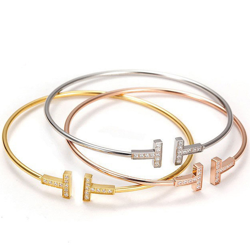 Gold/Rose Gold/Silver 3 Color Choose Bangle <font><b>Opened</b></font> Cuff Copper <font><b>Bracelets</b></font> Women Punk Round Bangle Jewelry image