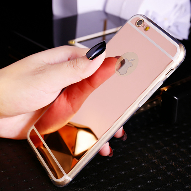 Gold Luxury Plating Foil Bling Mirror Case For iPhone 7 8 Plus 6 6s Plus X 5 5S Soft Clear TPU Cover For iPhone X 8 7 6 6S Plus