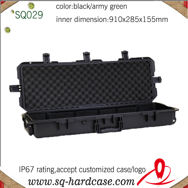 IP67 Hard Plastic Waterproof Shockproof Gun Case  With Wheels