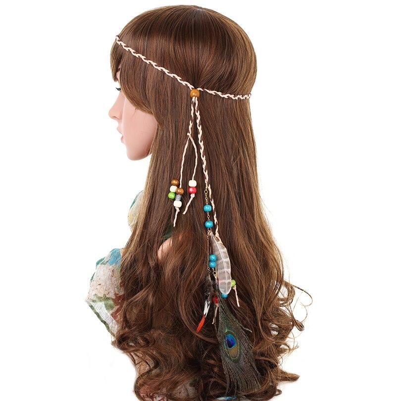 The Cheapest Price Hippie Carnival Headwear Boho Feather Headband Bohemian Peacock Headpiece Party Beaded Rope Waistband Women Hairband Festival Apparel Accessories