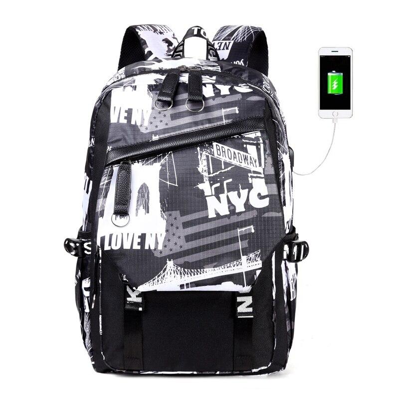 New USB Charging laptop bag mens casual Big Capacity Travel Backpack Teen Zipper Canvas school