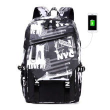 New USB Charging laptop bag mens casual Big Capacity Travel Backpack Teen Zipper Canvas school