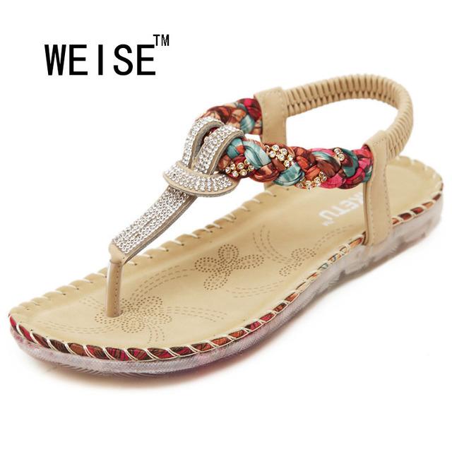 2017 Nova Exquisite Diamante Bohemian Nacional Strass Moda Sapatos Rasos Mulheres Sandálias Tamanho Grande Sapatos Casuais Sandálias de Verão