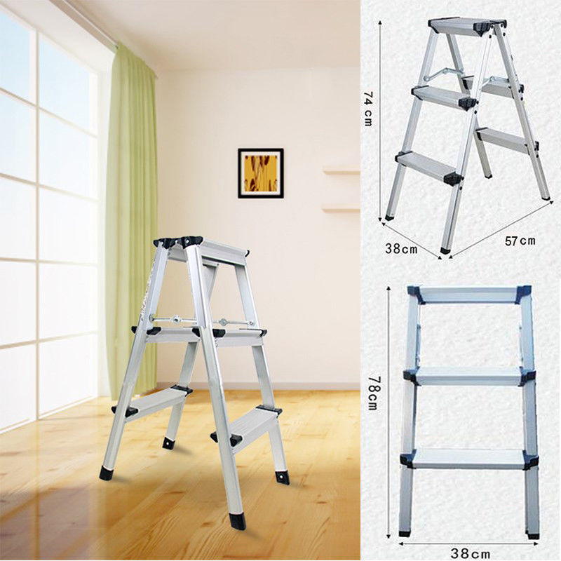 (Shipping From EU ) Aluminum  Ladder Folding Ladder Household Ladder 150kg 3 Steps Folding Step Stand