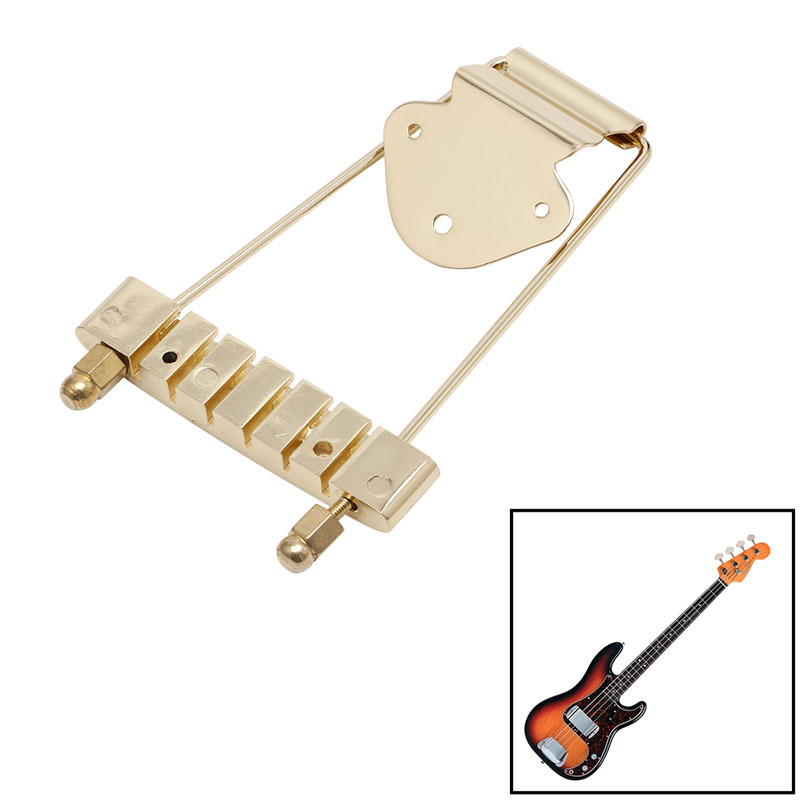 Hot 1Pc Gold Guitar Tailpiece Trapeze Open Frame Bridge For 6 String Archtop Guitar Drop Ship