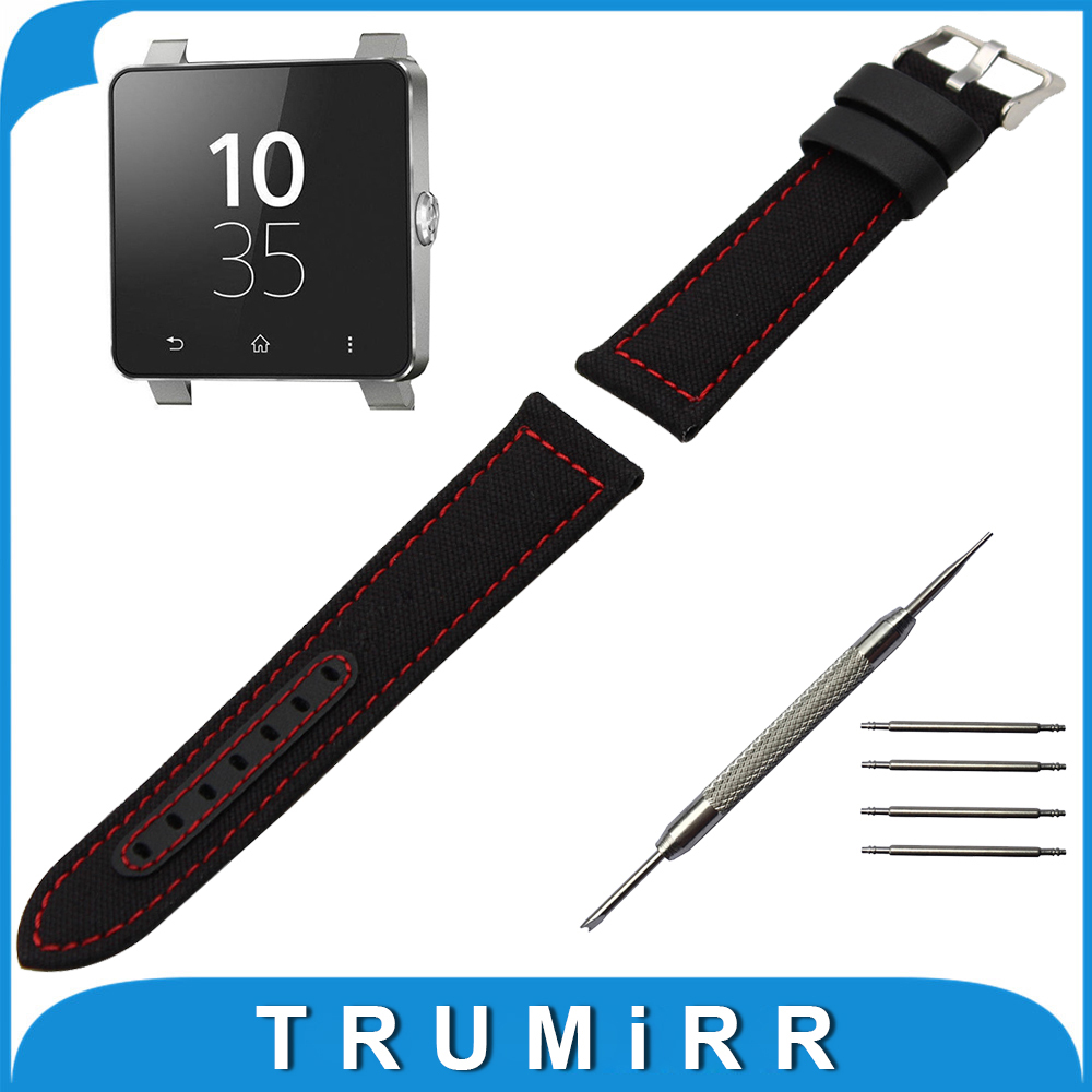 24mm Canvas + Genuine Leather Watch Band + Tool for Sony Smartwatch 2 SW2 Watchband Fabric Strap Wrist Belt Bracelet Black Brown 24mm genuine leather watchband for sony smartwatch 2 sw2 smart watch band wrist strap plain grain belt bracelet tool black