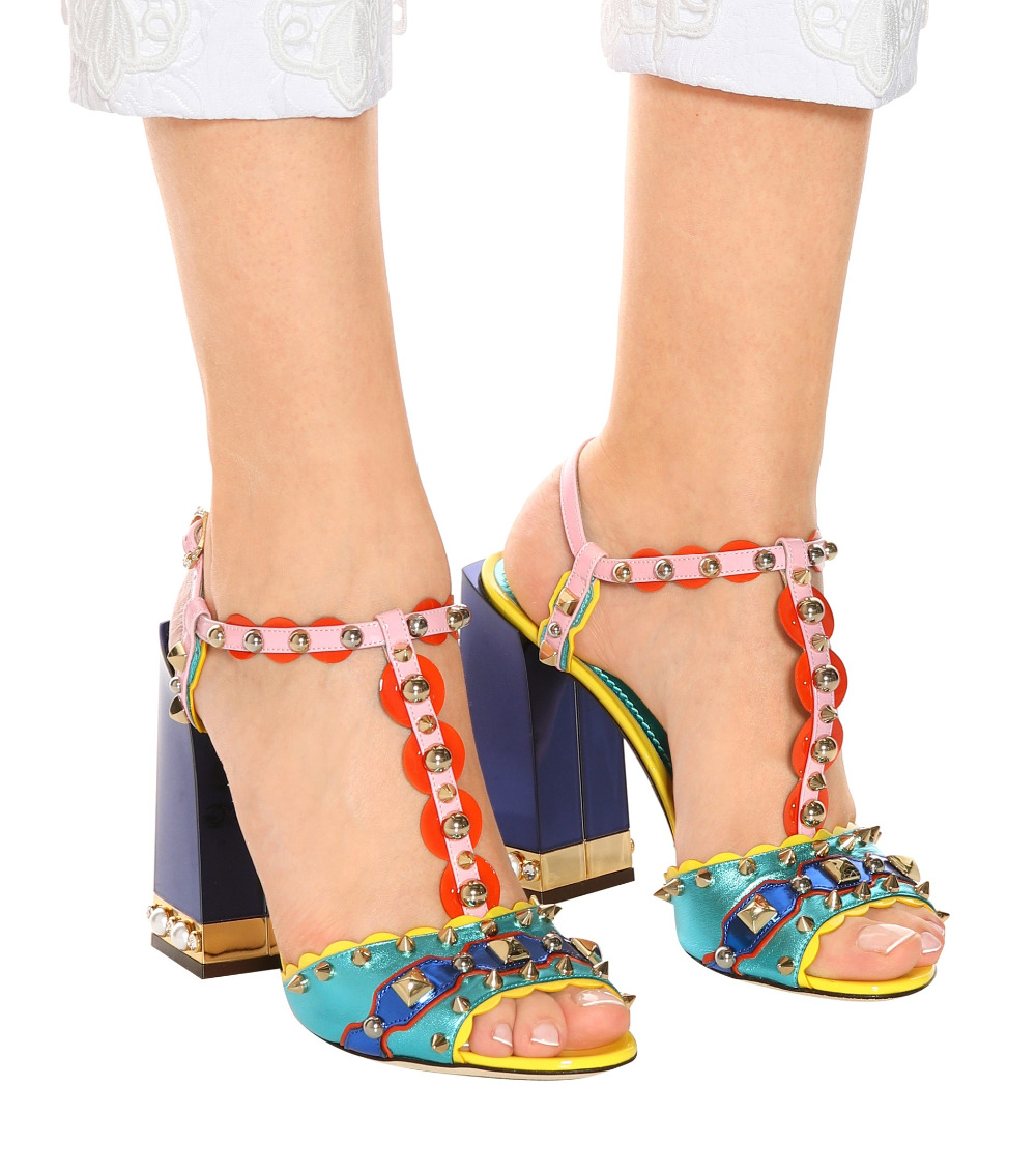 Multi Color Women Gladiator Sandals Thick Heeled Ladies Party Shoes Studs Straps Female Wedding Party Dress Sandals Summer Mujer