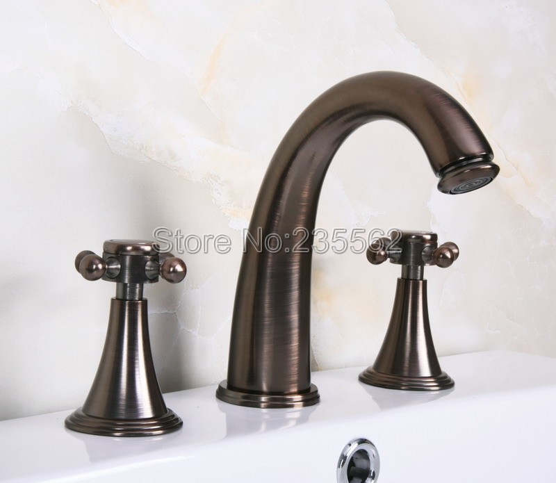 Brown Oil Rubbed Brass Widespread Bathroom Basin Faucet Mixer Tap / Tub Faucets Dual Handle lnf440Brown Oil Rubbed Brass Widespread Bathroom Basin Faucet Mixer Tap / Tub Faucets Dual Handle lnf440