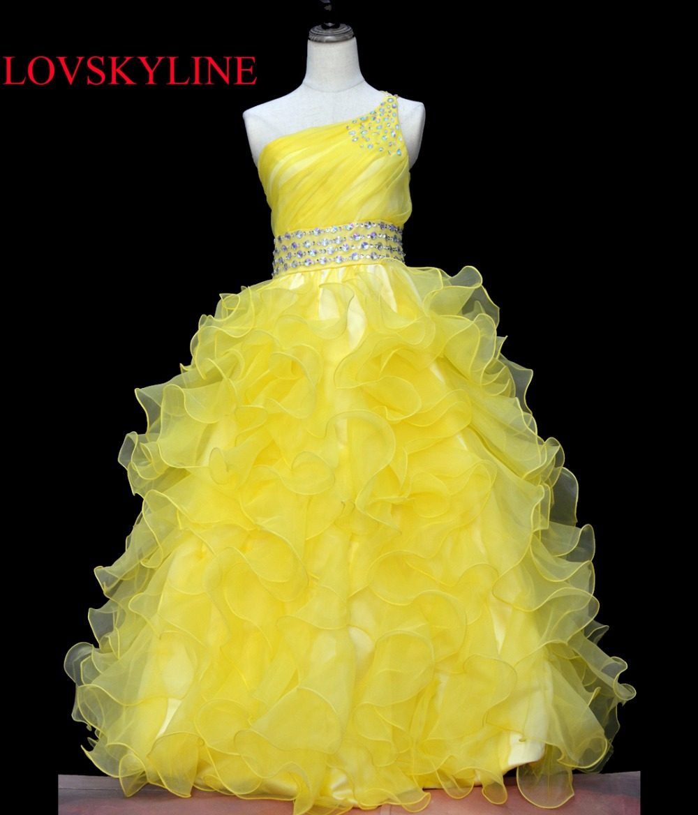 Real photo New Sweet Kids   Dress   one shoulder Crystal Ball Gown 2018 Cheap   Flower     Girl     Dresses   Middle   Girls   Pageant   Dress