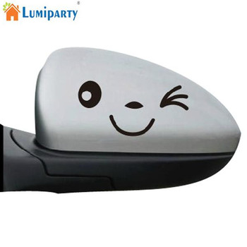 LumiParty Funny Smiling Face Reflective Decals Car Stickers Rearview Mirror Car Head Styling Sticker Long life service image
