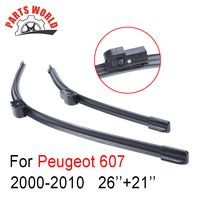 26 21 Pair Windscreen Front Wiper Blades For Peugeot 607 2000 2010 Fit Windshield Natural Rubber