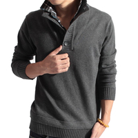 Sweater Pullover Men 2017 Male Brand Casual Slim Sweaters Men Fake Two Pieces Of Grid Solid