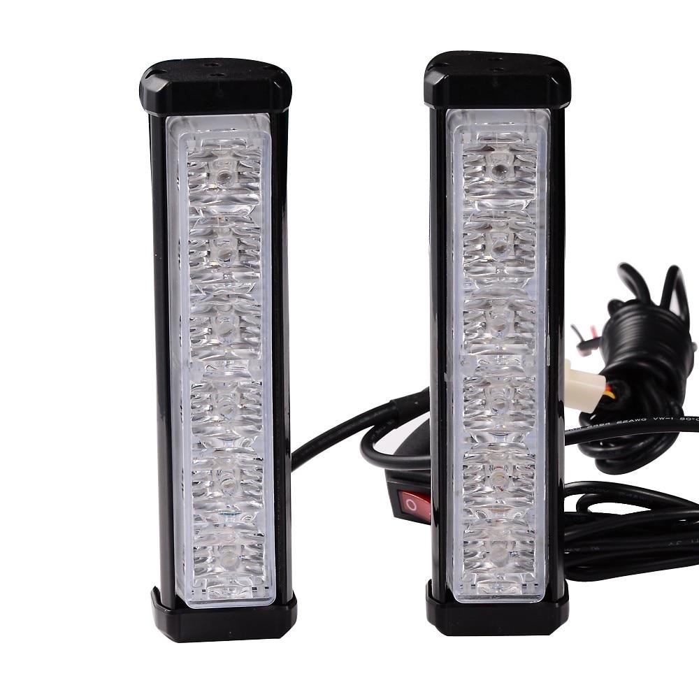 1 Kit 12V 12 LED Warning Emergency Beacon Strobe Flash <font><b>Light</b></font> Bar Car Truck Red / Blue Flashing Color Car Styling