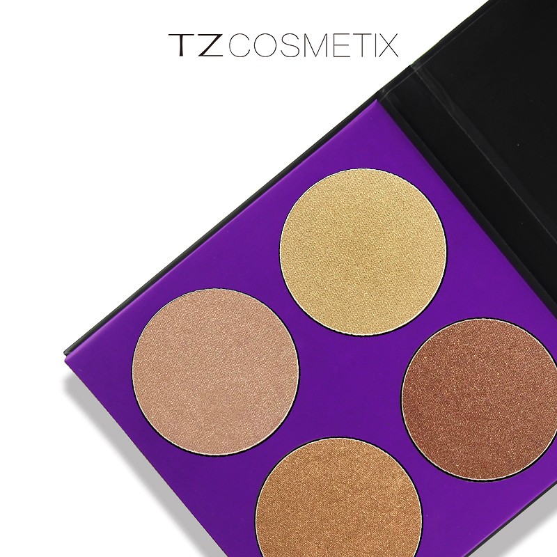 Face Highlighter Powder Palette Makeup Shimmer Highlight Make Up Powder Cosmetics Trimmer Bronzer TZ 4 Colors