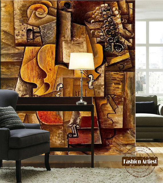 custom abstract art wallpaper mural impression oil painting wooden