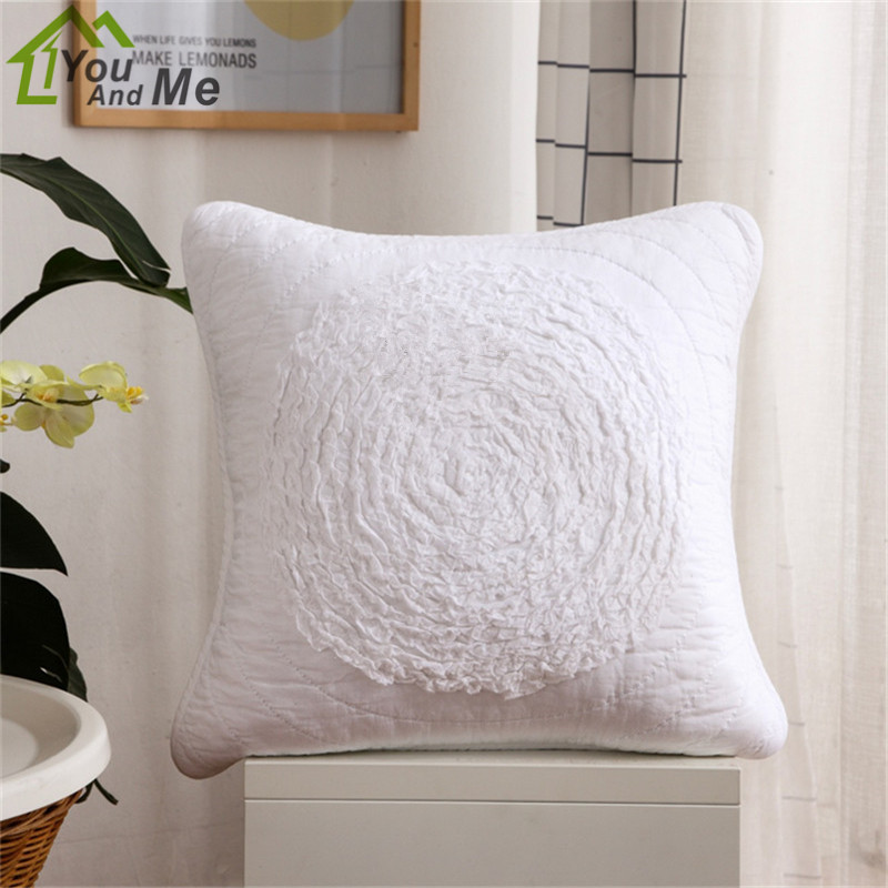 50cm Square Cotton Cloth Flower Embroidered Cushion Cover Car Home Sofa Chair Decoration Throw Pillow Case