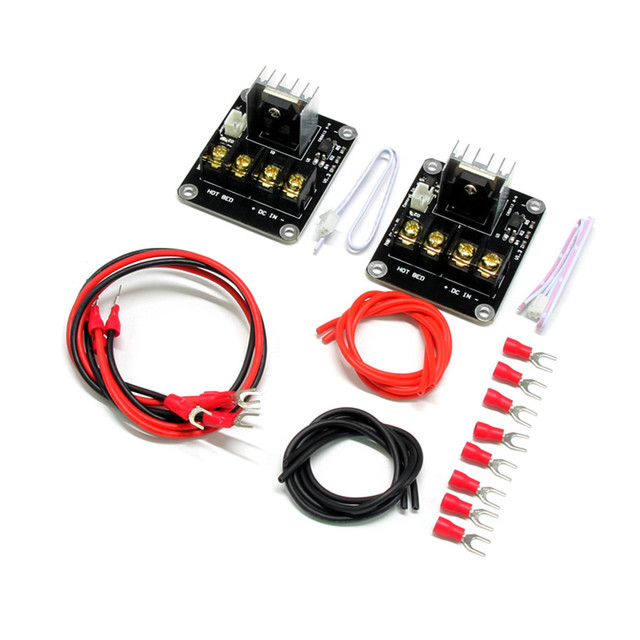 2Pcs 3D Printer Heated Bed Power Module High Current 210A MOSFET Upgrade RAMPS 1.4 With Cable