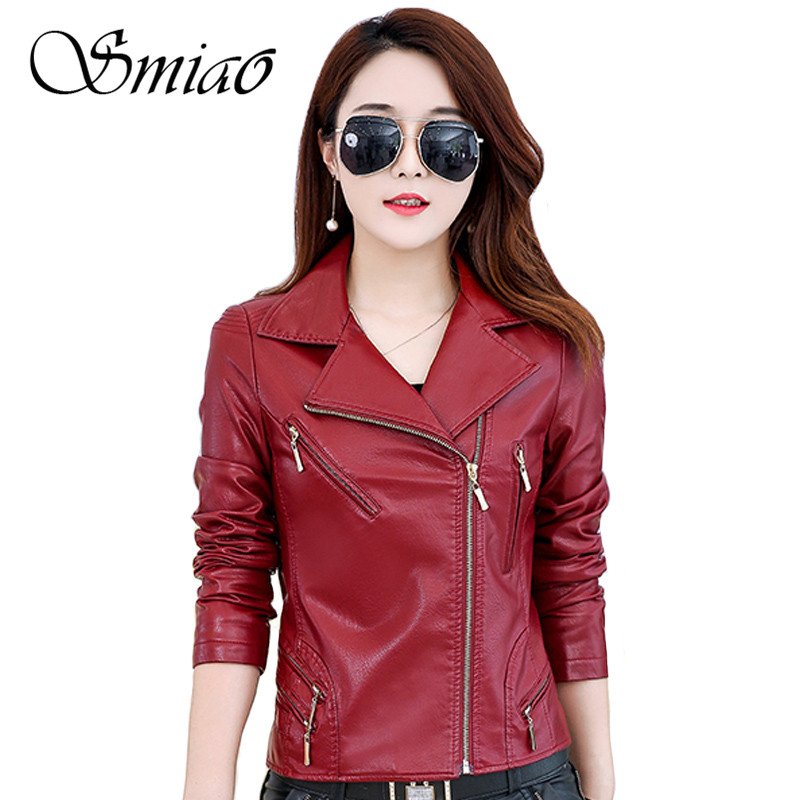 Smiao Coats And Jacket Women Autum2018 Faux Leather Jacket Women Fashion Plus Size 5XL Elegant Coat