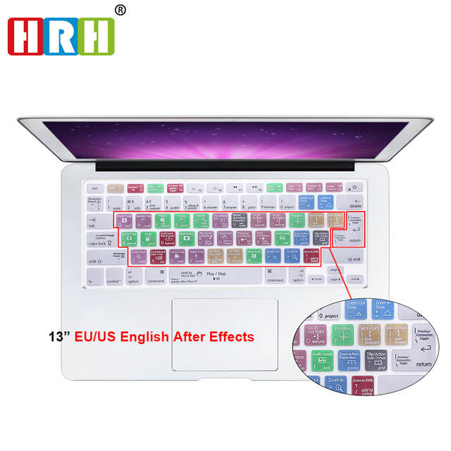 US $4 74 5% OFF HRH Adobe After Effects Functional Shortcuts Silicone  Keyboard Cover Keypad Skins Protector for Mac Air Pro 13