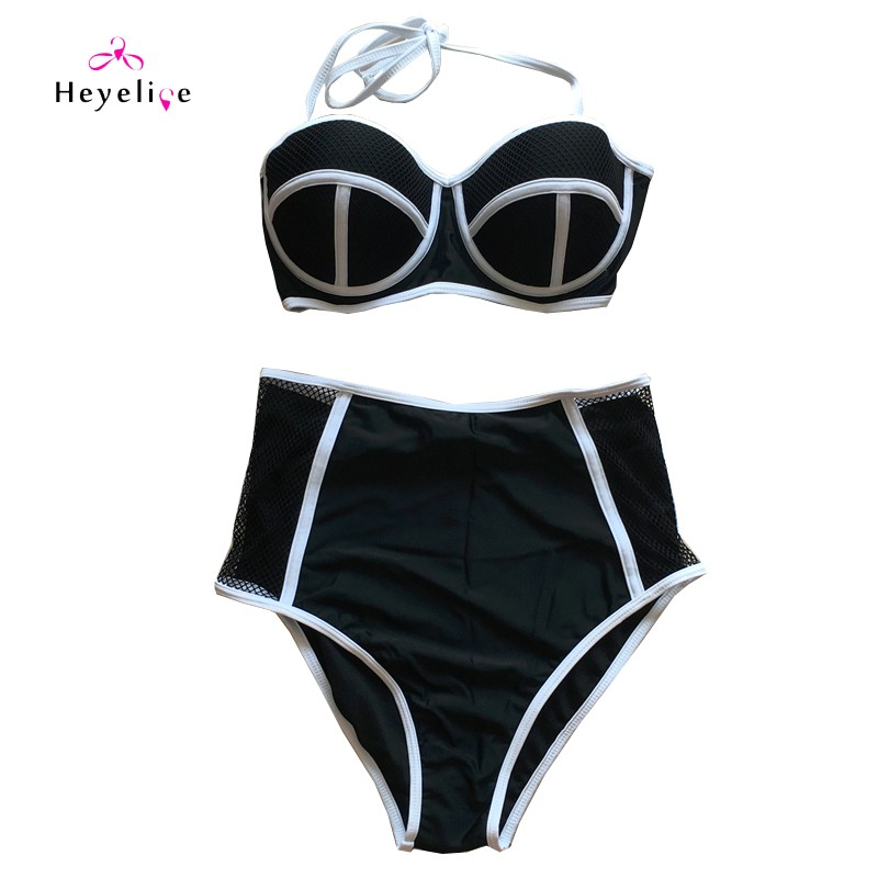 Mesh High Waist Bikinis Sexy Perspective Swimwear Women Push Up Swimsuit Top Halter Bathing Suit Padded Biquinis Bikini Set 12