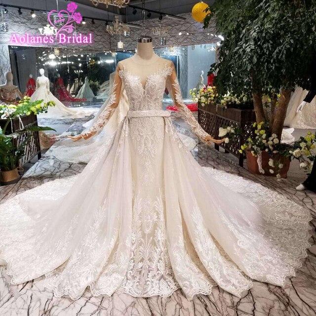 49a3b725d2 2019 Luxurious Design Amazing Detachable Train Mermaid Wedding Dresses  Heavy Handmade Crystal Western Style Wedding Gowns