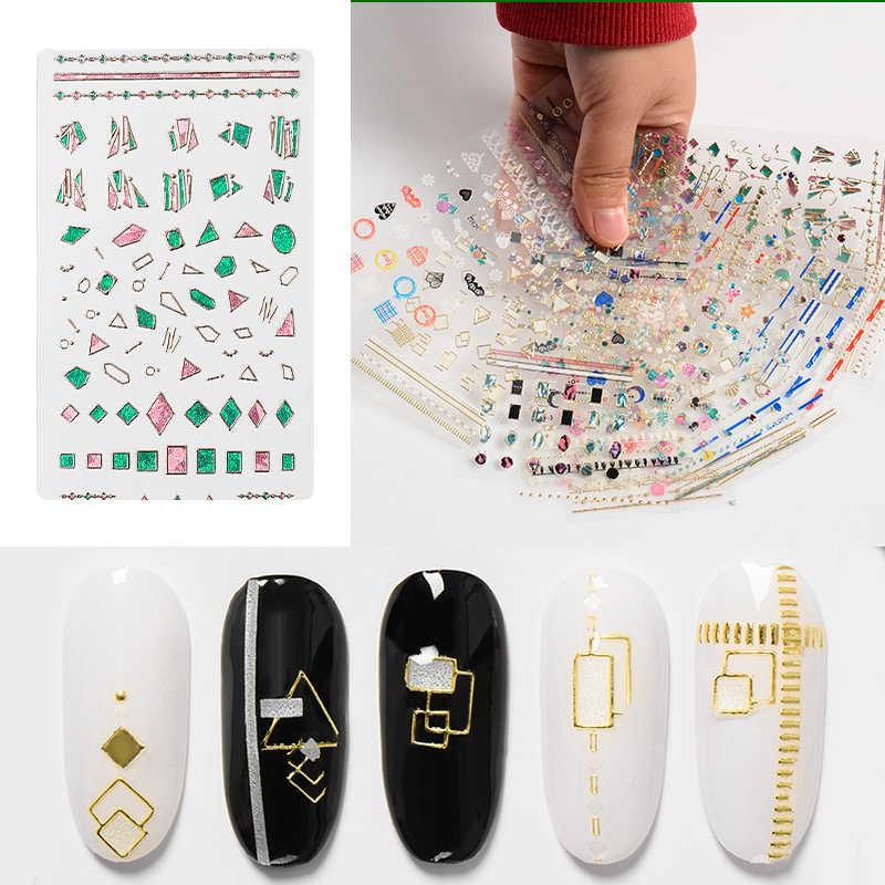 1 Sheet Charms Jewelry 3d Nail Sticker Geometry Nail Art Decals Adhesive Tips Nail Transfer Sliders Manicure Accessories