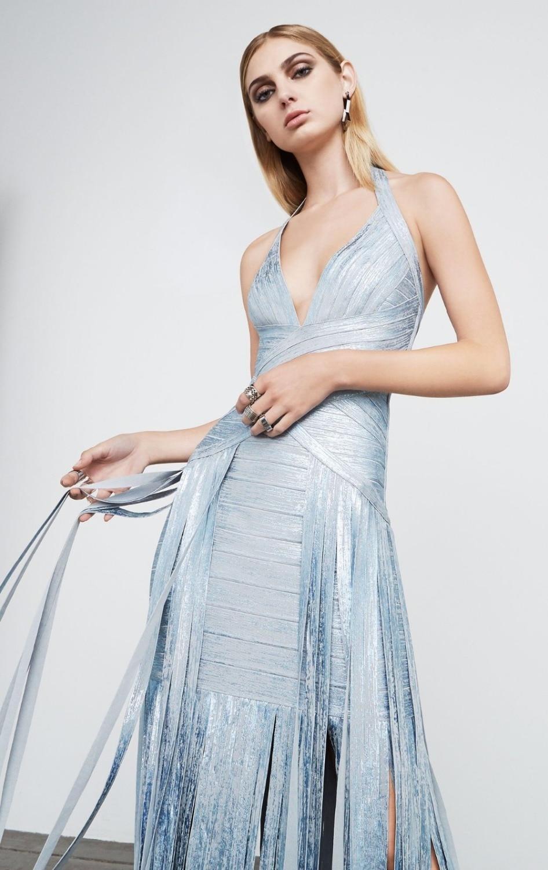 Qualité De Robe Rayonne Silver Impression Haute Cocktail Bandage Or Longue Argent tChxBsdQr
