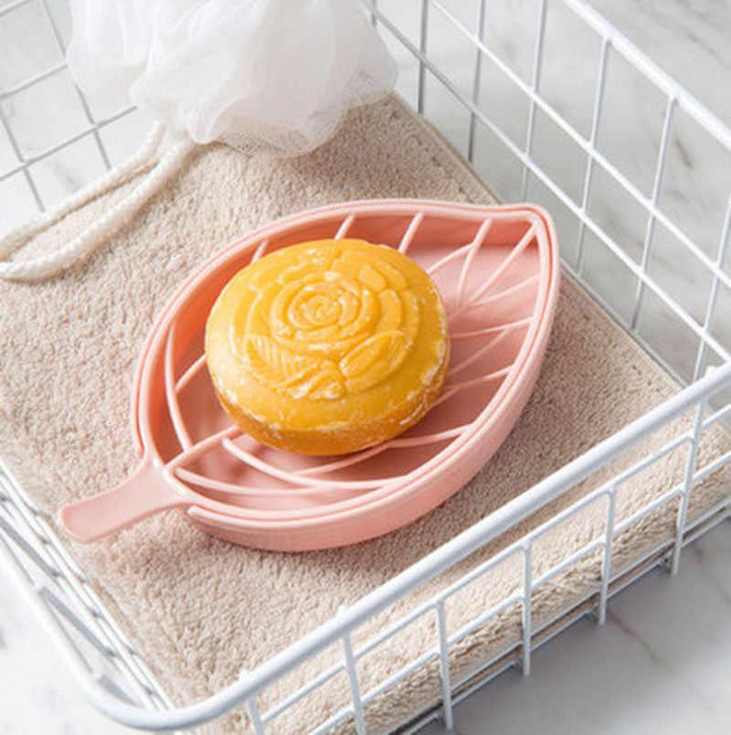 1PC Double Layer kształt liścia spustowy pudełko na mydło pojemnik do przechowywania przenośne liść modelowanie mydelniczki uchwyt na akcesoria łazienkowe