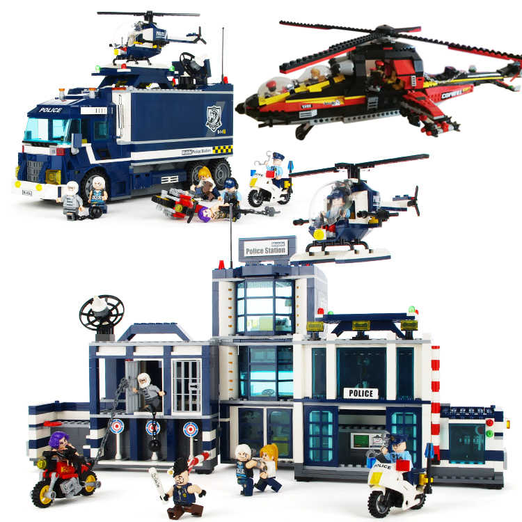 City series compatible legoed SWAT Police station helicopter sets figures truck car building blocks children kid toys motorcycle