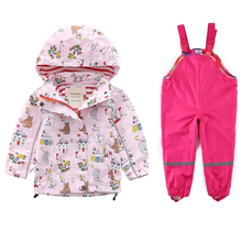 New childrens clothing girls jackets windbreaker spring and autumn baby big hooded jacket + pants