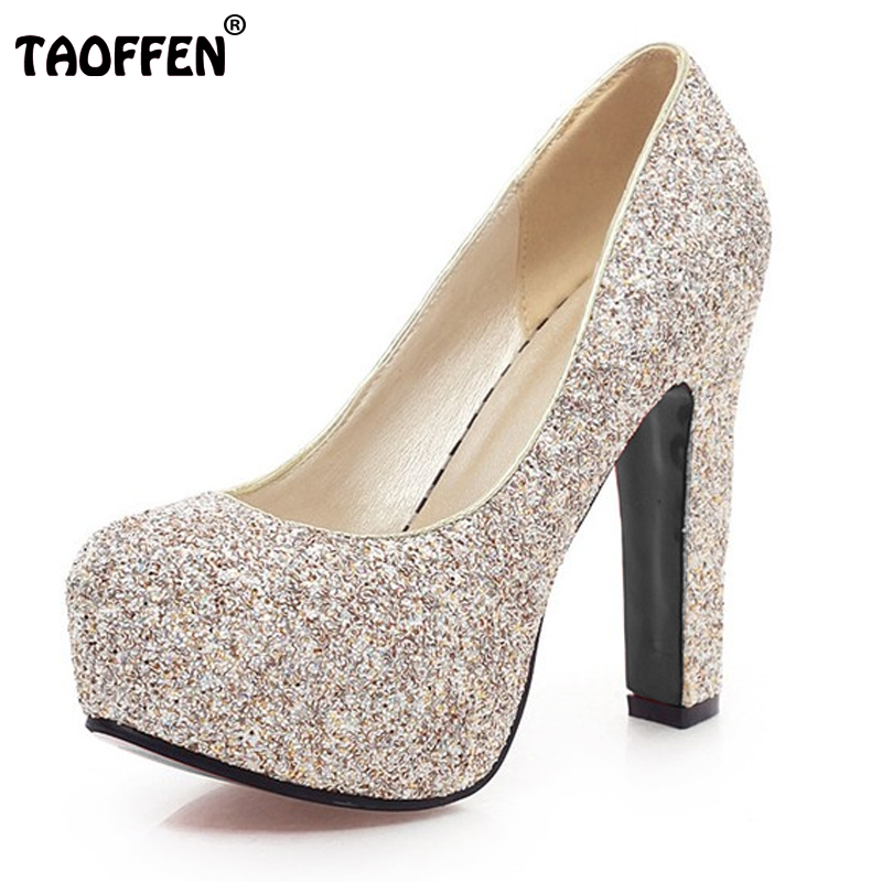 TAOFFEN women stiletto high heel shoes lady brand party quality footwear  platform heeled pumps heels shoes size 31-43 P17198 конструктор banbao полицейский грузовик