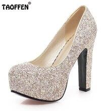 Taoffen/Женские туфли на высокой шпильке женские Брендовые вечерние качество обувь на платформе Туфли-лодочки с каблуком обувь на каблуке размеры 31–43 P17198