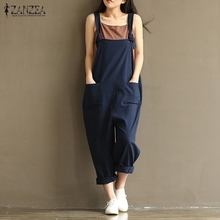 2018 ZANZEA Rompers Womens Jumpsuits Casual Vintage Sleeveless Backless Casual Loose Solid Overalls Strapless Paysuits Plus Size