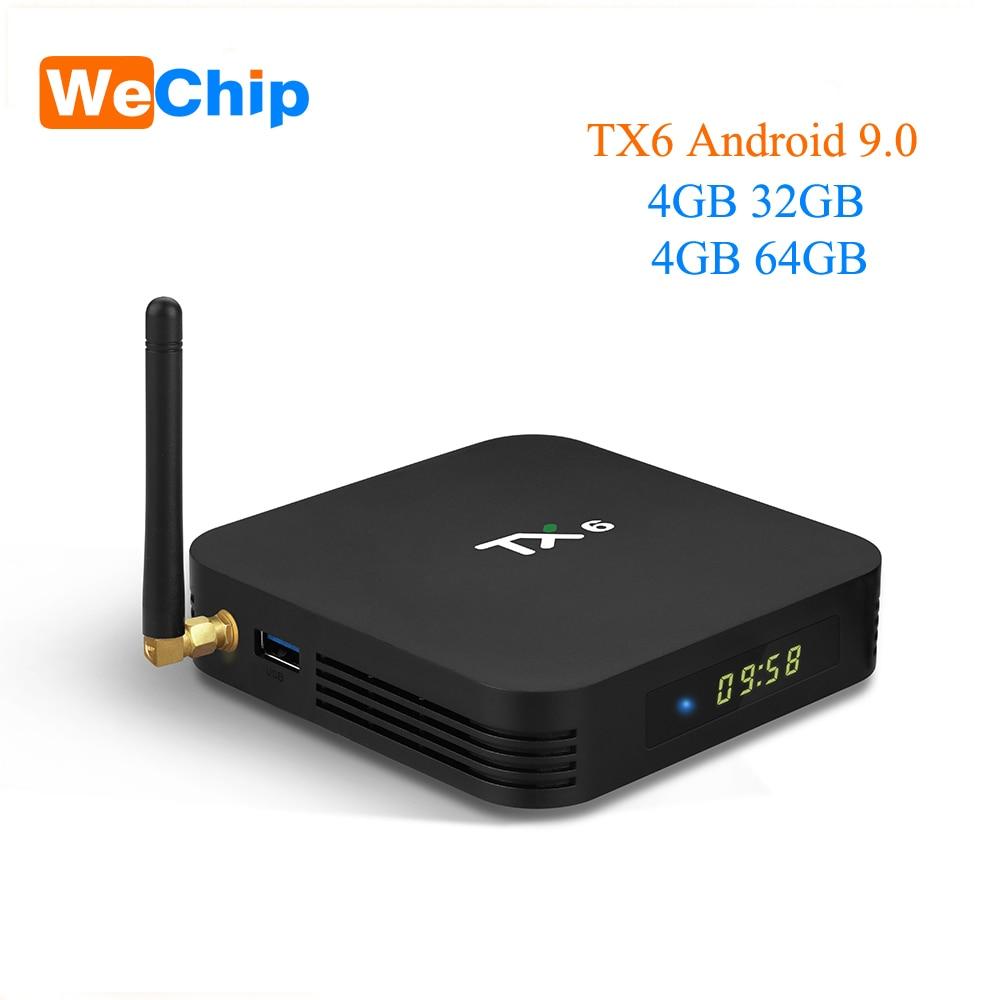 Wechip TX6 Allwinner H6 Android 9.0 TV box 4G 64G Quad core Double WIFI Bluetooth 4.1 4 K h.265 HDR 3D Youtube Ott lecteur multimédia