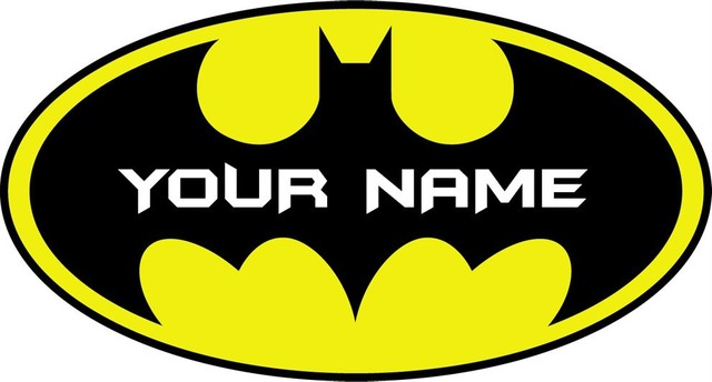 Custom names personalised batman logo decal removable wall sticker home decor art your name