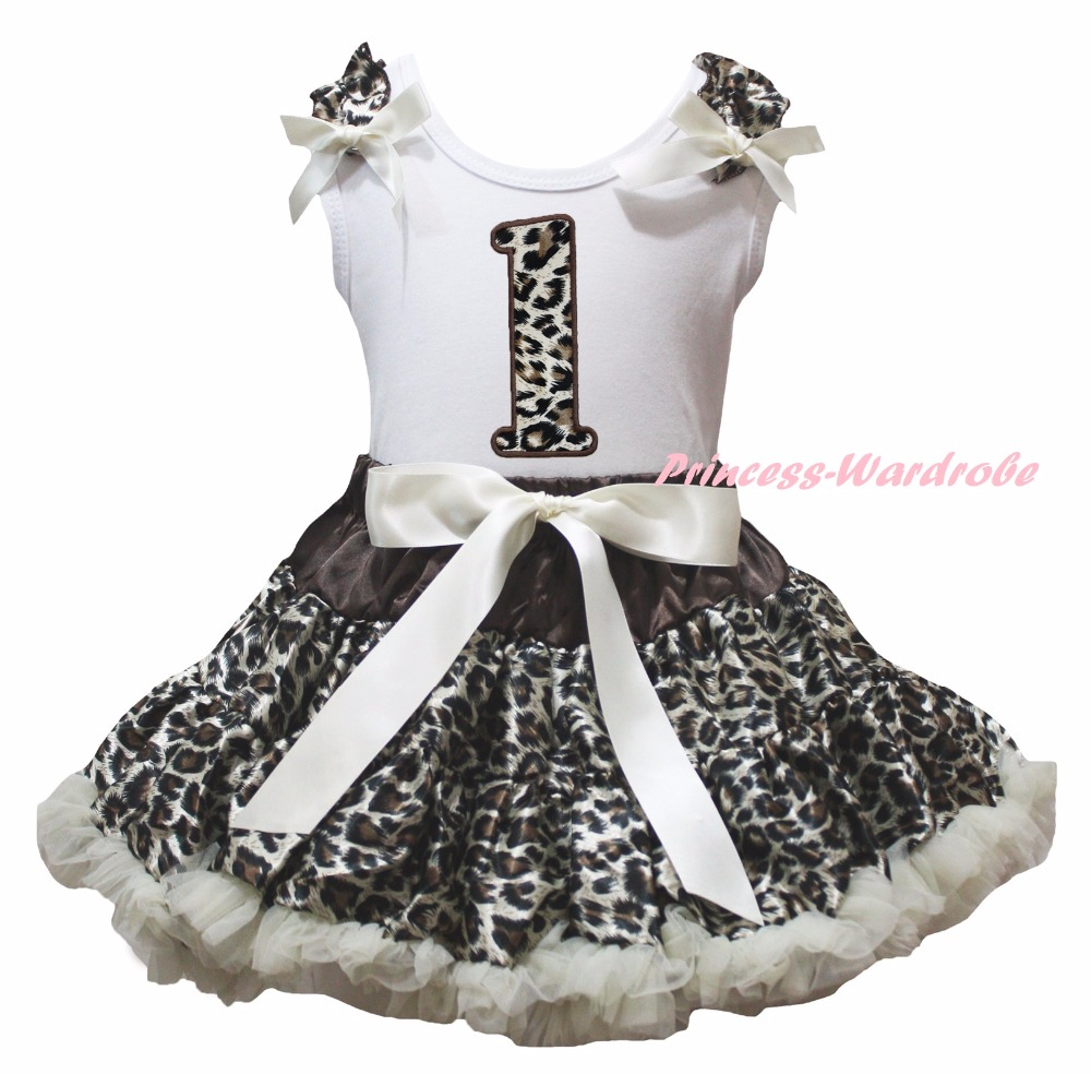 White Cotton Shirt Leopard Skirt Girl Outfit Set Dress 1st-6th Birthday Costume 1-8y LKPO0019 green top shirt my 2nd st patrick day rainbow clover girls skirt outfit set 1 8y