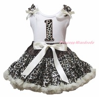 White Cotton Shirt Leopard Skirt Girl Outfit Set Dress 1st 6th Birthday Costume 1 8y LKPO0019