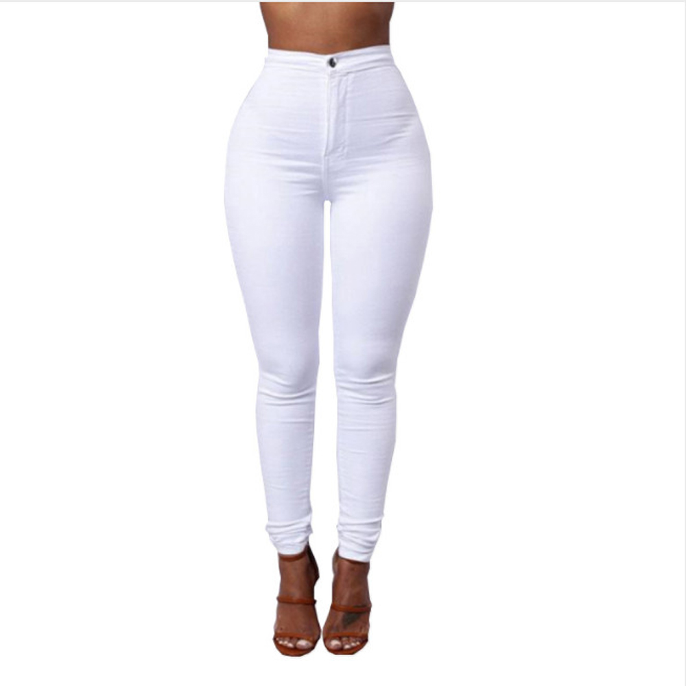 Full Length Cotton Pants Woman Regular White Black High Waist Elastic Faux   Jeans   Long Pants Female Casual Pencil Pants S-XXXL