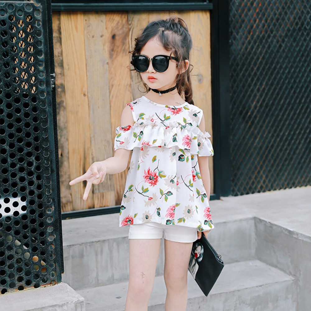 Puseky 2017 Summer Fashion Kids Girls Clothes Set Off shoulder Floral Ruffled Crop Top+ Short 2PCS Outfits Children Sunsuit 2-9Y 2017 new fashion kids clothes off shoulder camo crop tops hole jean denim pant 2pcs outfit summer suit children clothing set
