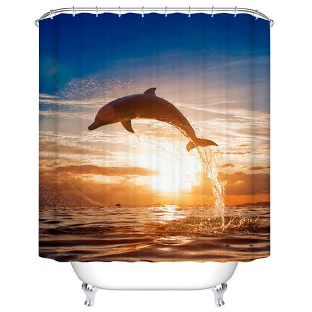 Zonsondergang Zee Bad Schermen Dolfijn Douchegordijn Polyester