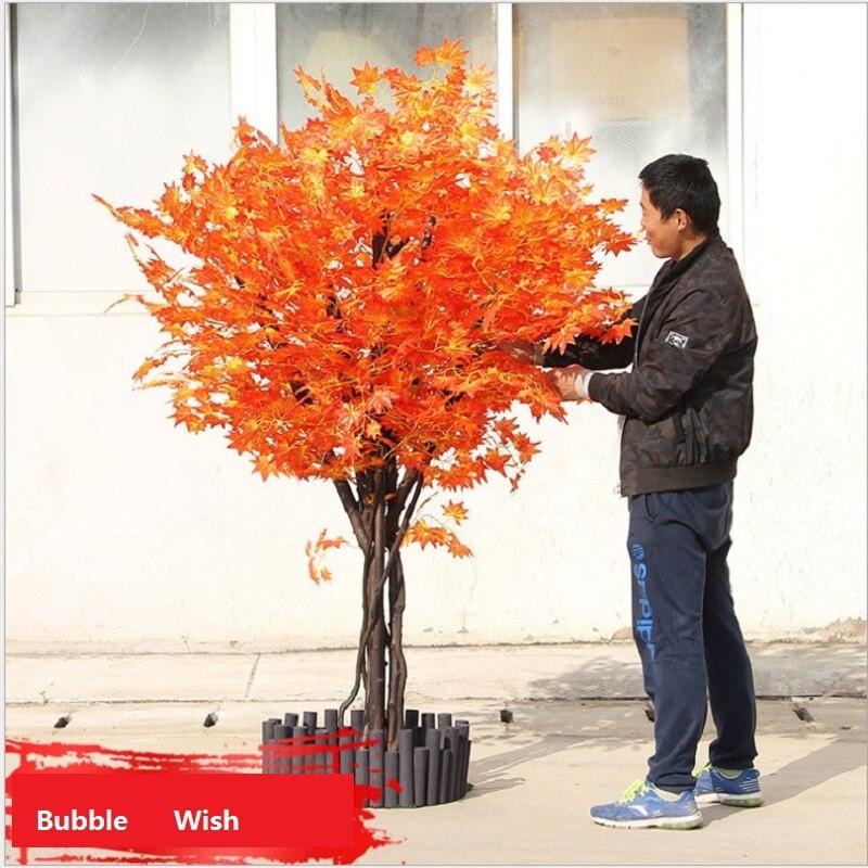 Árbol de arce artificial árbol de arce rojo simulación a gran escala de plantas verdes tienda de decoración de sala de estar planta de 1,5 M de altura - 4