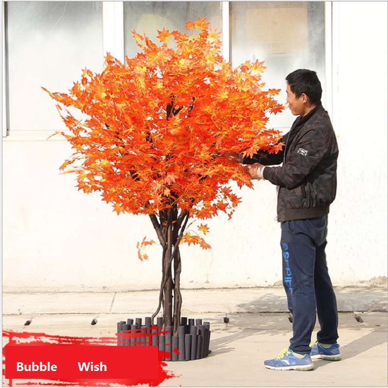 artificial maple tree Red maple tree Large scale simulation of green plants Shop living room decoration plant 1.5 M high - 4