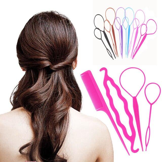 Fashion 4pcsset Women Girls Fast Easy Magic Bun Princess Hairstyle