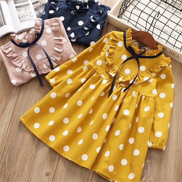 Платье для девочек от 0 до 6 лет, коллекция 2018 года, Осеннее Повседневное платье в горошек с длинными рукавами и рисунком, детская одежда для девочек, платье принцессы розового, желтого и синего цвета