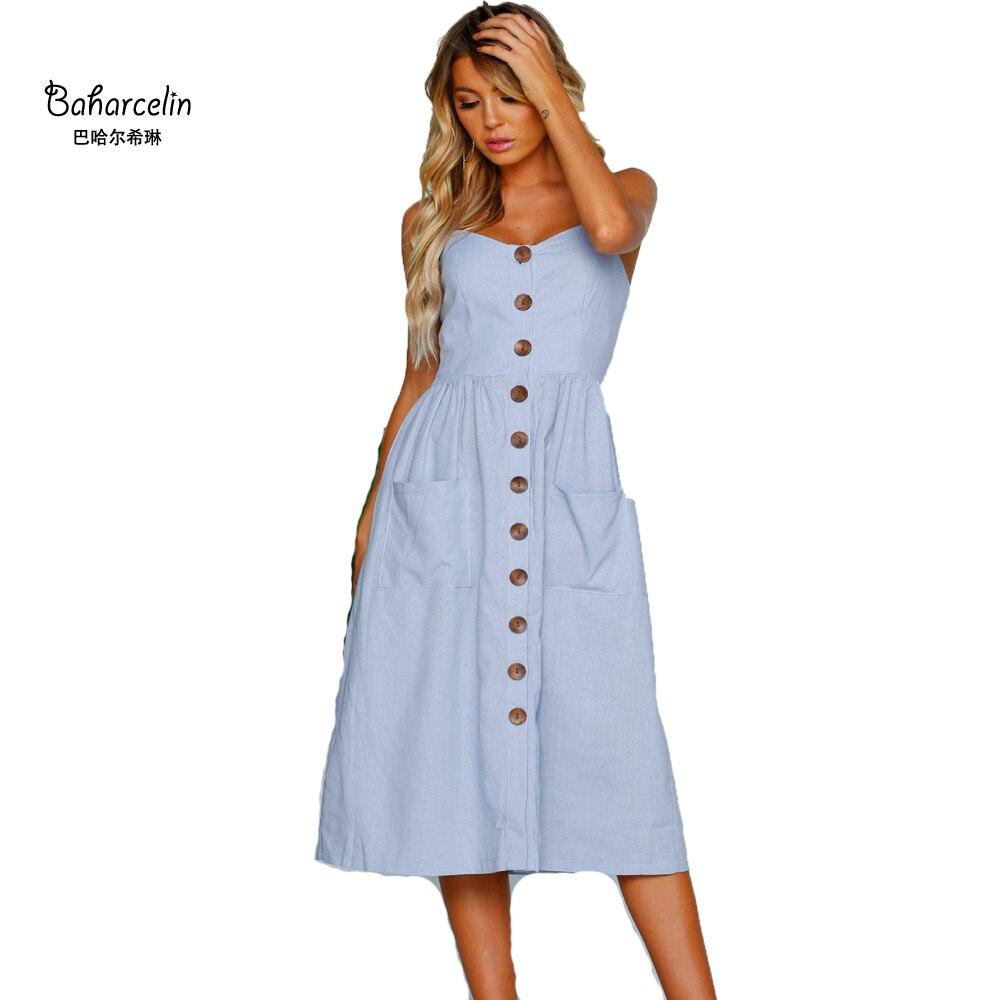 Us 1247 48 Offbaharcelin Vestidos Verano 2018 New Women Dress Blue Pink Casual Summer Dress Buttons Strap Sexy Bobo Elegant Midi Dresses In