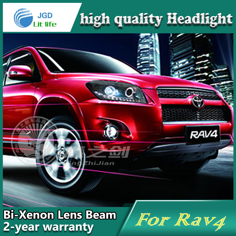high quality Car Styling for Toyota RAV4 2009-2012 Headlights LED Headlight DRL Lens Double Beam HID Xenon Car Accessories hireno headlamp for 2003 2009 toyota land cruiser prado headlight assembly led drl angel lens double beam hid xenon 2pcs