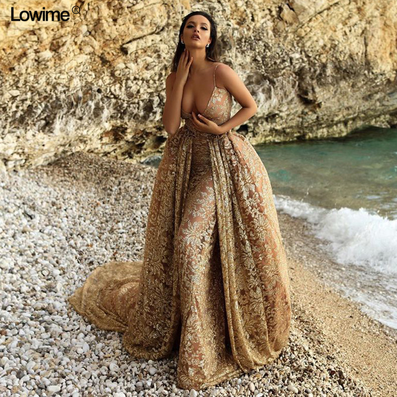New Arrival Mermaid Robe de soiree Sexy Prom Dress Long Special Sequined Fabric Evening Dresses With Detachable Train
