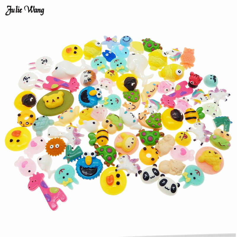 Julie Wang 20pcs Resin Random Cartoon Animal Charms Flatback Cabochon Phone Case Decor Hair Accessory DIY Slime Supplies Jewelry in Jewelry Findings Components from Jewelry Accessories