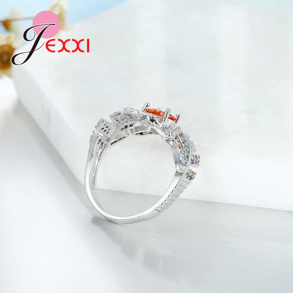 JEXXI 925 Sterling Silver Leaf Shape Crystal Design Sense Orange Color CZ Zircon Ring Women Fashion Jewelry Valentines Day Gift